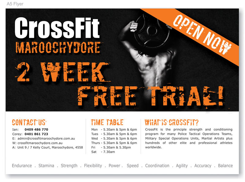 Graphic Design Crossfit A5 Flyers