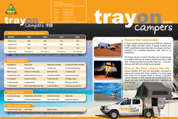 Trayon Campers A4 fold to A5 flyers