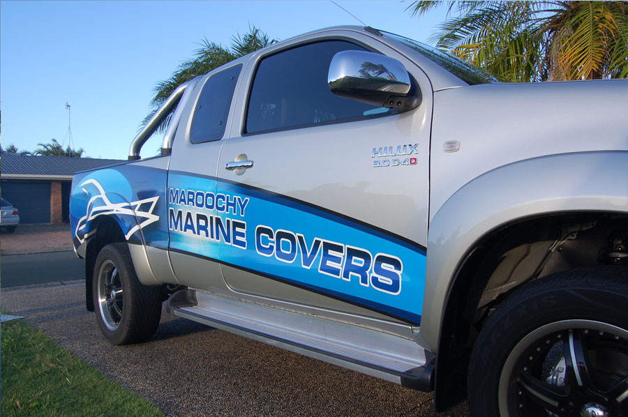 Car sticker design shop - Maroochy Marine Covers Ink To Image