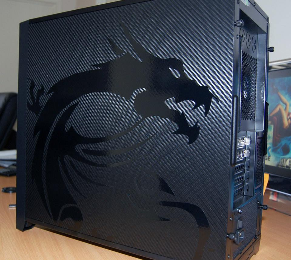 Custom carbon fibre msi dragon pc case ink to image